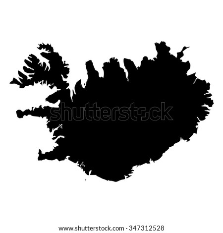 Vector map Iceland. Isolated vector Illustration. Black on White background. EPS Illustration.