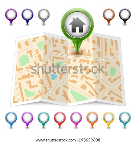 Vector map icon. Map markers - stock vector