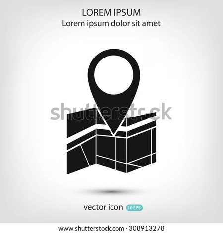Vector map icon with Pin - stock vector