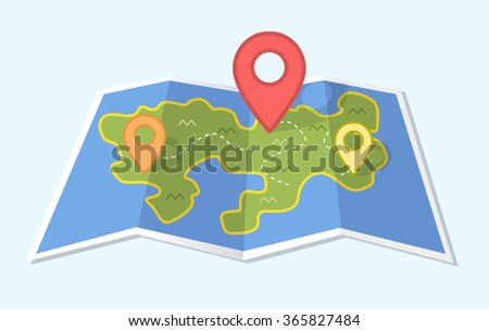 Vector map icon with Pin Pointer - stock vector
