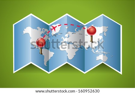 Vector map icon with Pin Pointers - stock vector