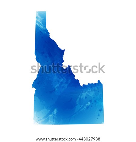 Vector map Idaho. Isolated vector Illustration. Watercolor effect. EPS 10 Illustration. - stock vector