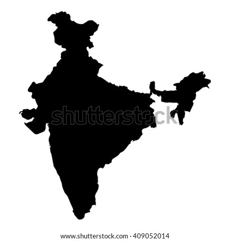 Vector map India. Isolated vector Illustration. Black on White background. EPS 8 Illustration. - stock vector