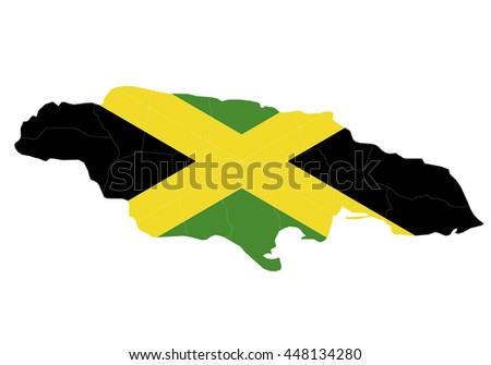 Vector map-jamaica country on white background.