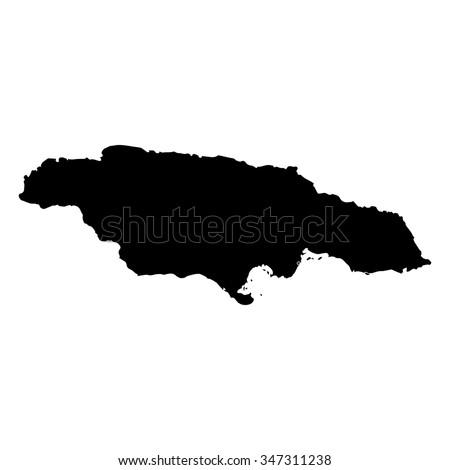 Vector map Jamaica. Isolated vector Illustration. Black on White background. EPS Illustration. - stock vector