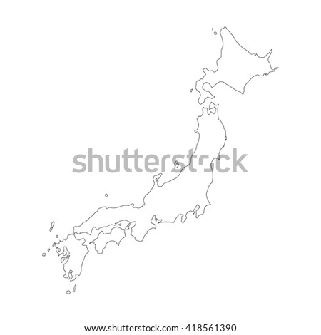 Vector map Japan. Outline map. Isolated vector Illustration. Black on White background. EPS 8 Illustration. - stock vector