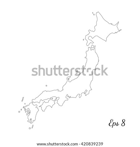 Vector Map Japan Outline Map Isolated Stock Vector - Japan map sketch