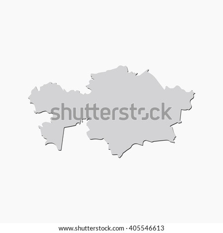 Vector map Kazakhstan. Gray Isolated vector Illustration. On Grey background. With shadow. EPS 10 Illustration.