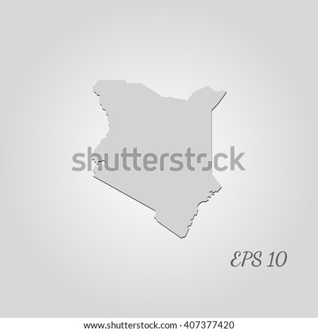 Vector map Kenya. Isolated vector Illustration. Gray on Gradient background. With shadow. EPS 10 Illustration with an inscription. - stock vector