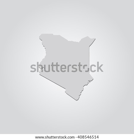 Vector map Kenya. Isolated vector Illustration. Gray on Gradient background. With shadow. EPS 10 Illustration. - stock vector