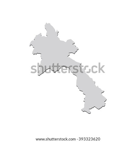 Vector map Laos. Isolated vector Illustration. Gray on White background. With shadow. EPS 10 Illustration. - stock vector