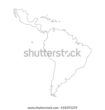 Vector Map Latin America Outline Map Isolated Vector Ilration Black On White Background
