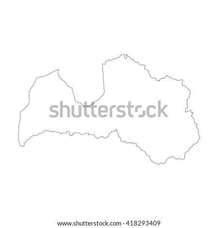 Vector Map Latvia Outline Map Isolated Stock Vector - Latvia map outline