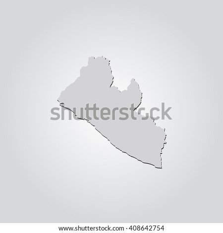 Vector map Liberia. Isolated vector Illustration. Gray on Gradient background. With shadow. EPS 10 Illustration. - stock vector