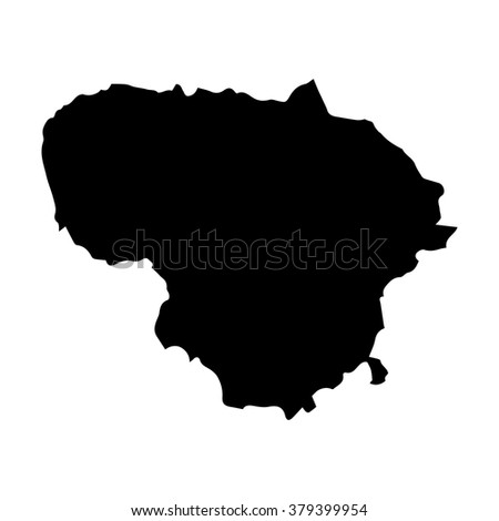 Vector map Lithuania. Isolated vector Illustration. Black on White background. EPS Illustration. - stock vector