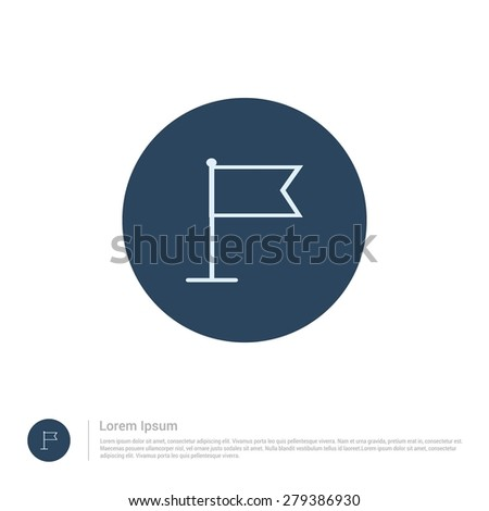 vector Map Location flag pin icon thin line for web and mobile, modern minimalistic flat design. Vector outline icon and offset colour on light white background - stock vector