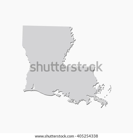 Vector map Louisiana. Gray Isolated vector Illustration. On Grey background. With shadow. EPS 10 Illustration. - stock vector
