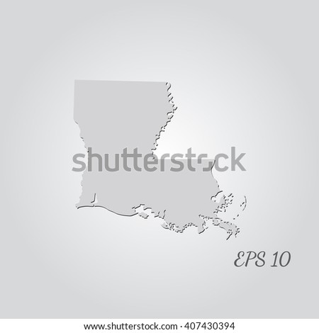 Vector map Louisiana. Isolated vector Illustration. Gray on Gradient background. With shadow. EPS 10 Illustration with an inscription. - stock vector