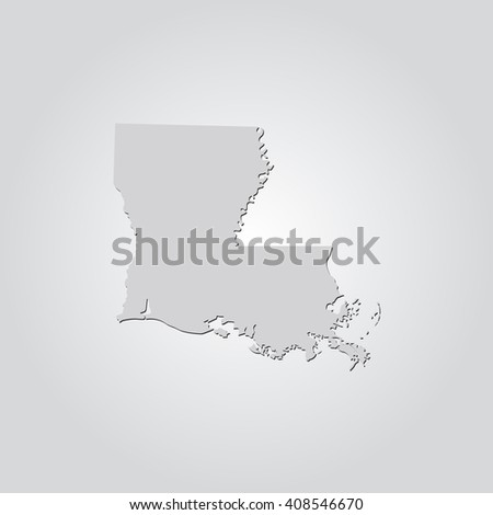 Vector map Louisiana. Isolated vector Illustration. Gray on Gradient background. With shadow. EPS 10 Illustration. - stock vector