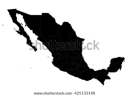 Vector map-Mexico country on white background.