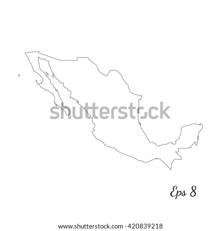 Vector map Mexico. Outline map. Isolated vector Illustration. Black on White background. EPS 8 Illustration. - stock vector