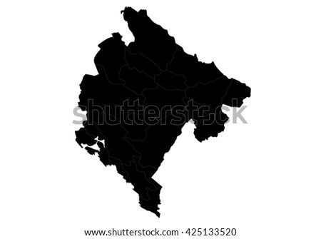 Vector map-Montenegro country on white background. - stock vector