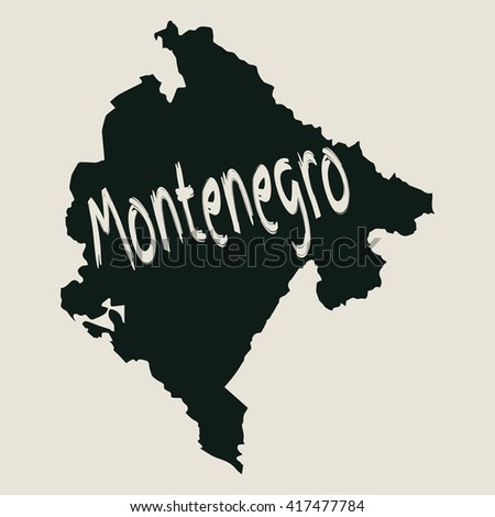 Vector map Montenegro. Gray Isolated vector Illustration. On Beige background. Typography design. EPS 8 Illustration. - stock vector