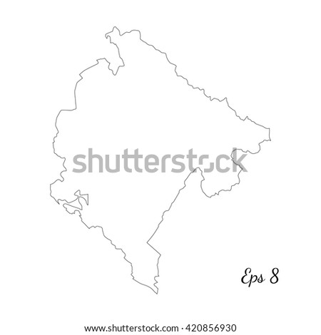 Vector map Montenegro. Outline map. Isolated vector Illustration. Black on White background. EPS 8 Illustration. - stock vector