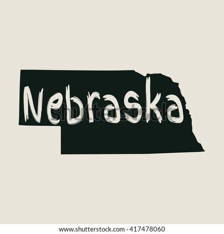 Vector map Nebraska. Gray Isolated vector Illustration. On Beige background. Typography design. EPS 8 Illustration. - stock vector
