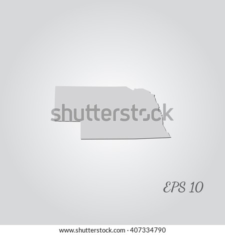 Vector map Nebraska. Isolated vector Illustration. Gray on Gradient background. With shadow. EPS 10 Illustration with an inscription. - stock vector