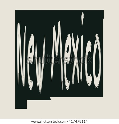 Vector map New Mexico. Gray Isolated vector Illustration. On Beige background. Typography design. EPS 8 Illustration.