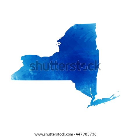 Vector map New York. Isolated vector Illustration. Watercolor effect. EPS 10 Illustration. - stock vector