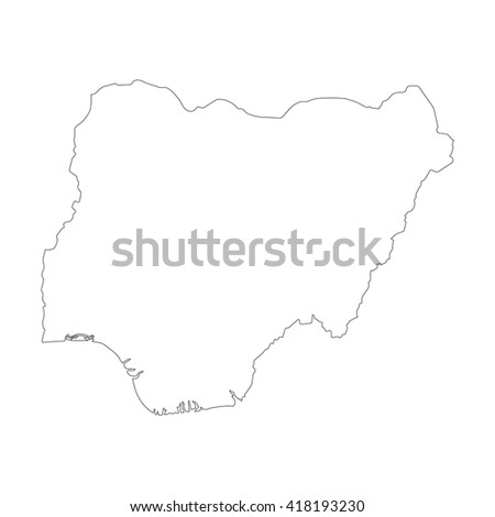 Vector map Nigeria. Outline map. Isolated vector Illustration. Black on White background. EPS 8 Illustration. - stock vector