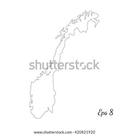 Vector Map Norway Isolated Vector Illustration Stock Vector - Norway map eps