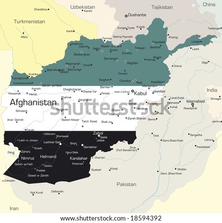 Vector map of Afghanistan country colored by national flag - stock vector