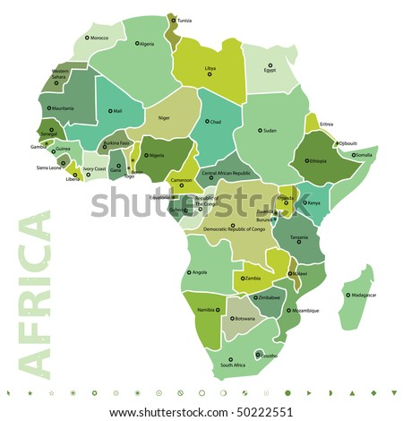 vector map of africa - stock vector