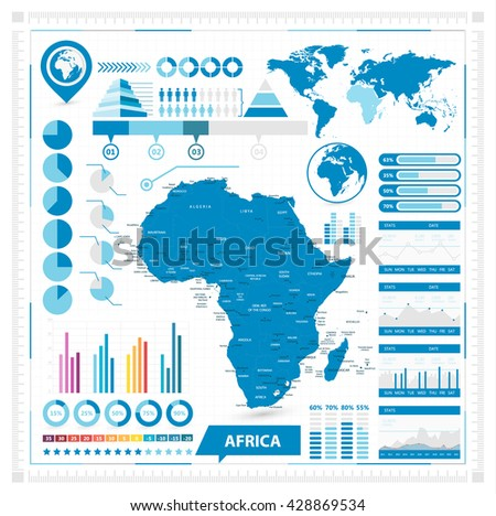 Vector map of Africa and infographic elements. Vector illustration.