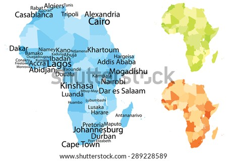 Vector Map Africa Largest Cities Carefully Stock Vector - Us map scaled by population