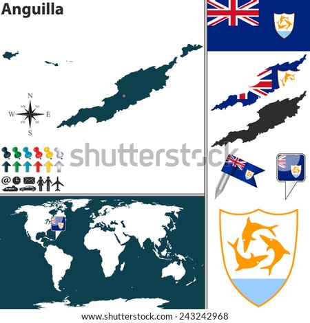 Vector map of Anguilla with coat of arms and location on world map - stock vector
