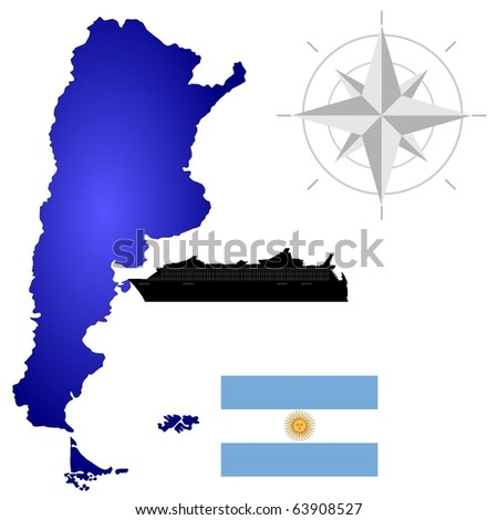 vector map of  Argentina with a silhouette of the ship and the flag - stock vector