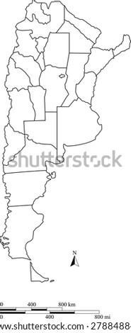Vector map of Argentina with mileage and kilometer scales and boundaries/polygons of districts or provinces or states, Argentina map outlines with scales for science and publication uses - stock vector