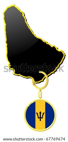 vector map of  Barbados  with a gold trinket and flag