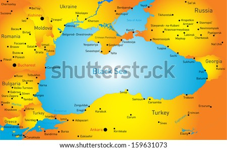 Vector map black sea region stock vector 159631073 shutterstock vector map of black sea region gumiabroncs Images