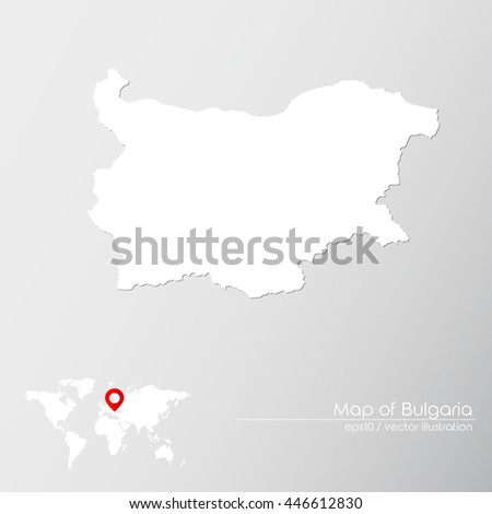 Vector map of Bulgaria with world map infographic style. - stock vector