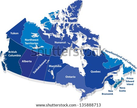 Vector map of Canada with territories
