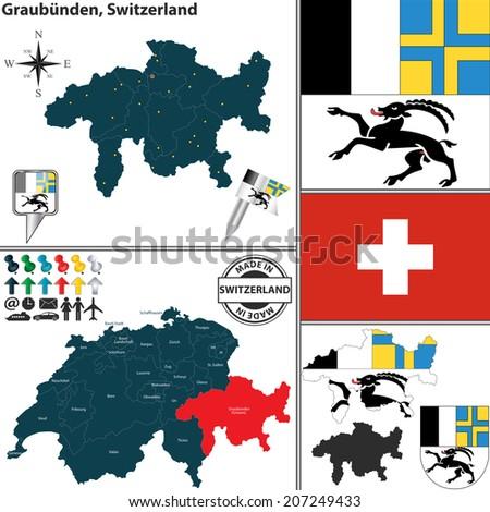 Graubunden Map Stock Images RoyaltyFree Images Vectors
