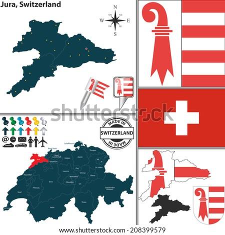 Vector Map Canton Jura Coat Arms Stock Vector 208399579 Shutterstock