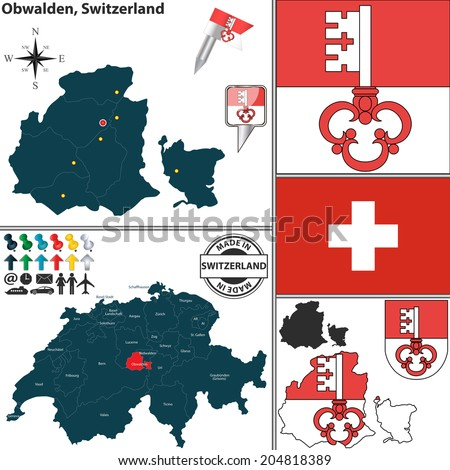 Vector Map Canton Obwalden Coat Arms Stock Vector 204818389