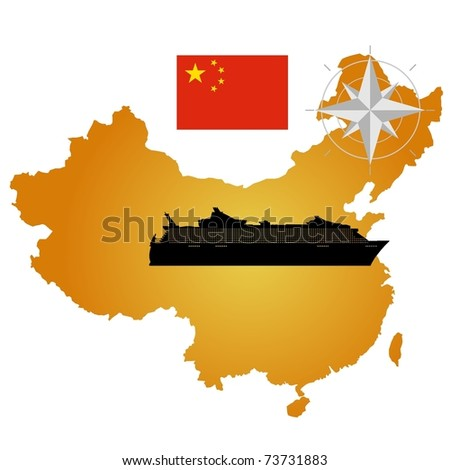Vector map of China  with a silhouette of the ship and the flag