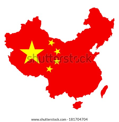 Vector map of China with national flag isolated on white background. - stock vector